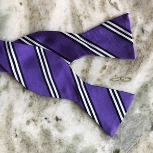 Saddlebred Purple White Black Striped Bow Tie